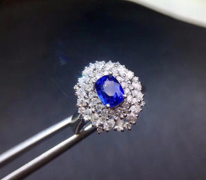 Fine Jewelry Real Pure 18 K 100% Natural 1.21ct Royal Blue Sapphire Gemstone 18k Gold Diamonds Stone Women Ring for Female Rings