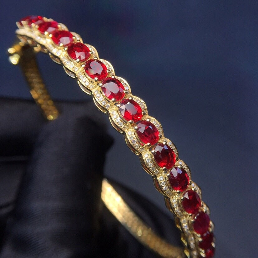 Fine Jewelry Real 18K Yellow Gold AU750 G18K 100% Natural Red Ruby Gemstones Love Jewellery Bangles for women Fine Bangles