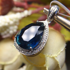 Fine Jewelry Real 18K White Gold AU750 100% Natural Royal Blue Sapphire Gemstones Pendants for Women Necklace