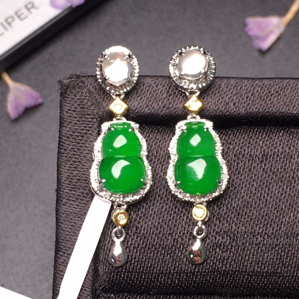 507 Fine Jewelry Real Pure 18 K White Gold AU750 100% Natural Myanmer Jade Gemstones Emeralds Female Drop Earrings for Women
