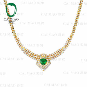 CaiMao Natural 4.15 ct Emerald 18KT/750 Rose Gold 7.7 ct Full Cut Diamond Jewelry Pendant Gemstone