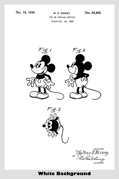 Original Mickey Mouse Toy Patent Print Art Poster