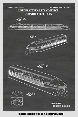 Monorail Train People Mover Amusement Ride Patent Print Art Poster