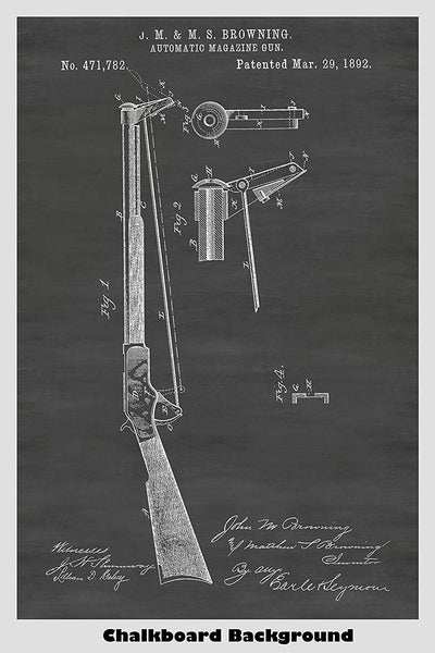 Browning Automatic Magazine Rifle Patent Print Art