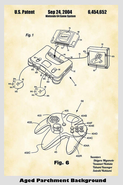 Nintendo 64 Video Game System Patent Print Art Poster