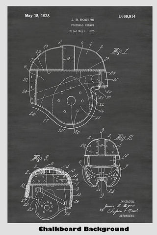 Leather Football Helmet Patent Print Art Poster