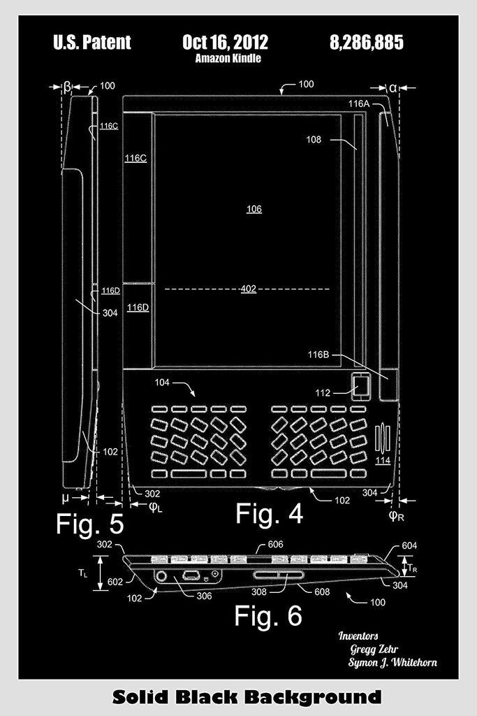 Amazon Kindle Ebook Reader Poster Patent Art Print – Patent