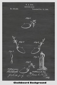 Medicine Spoon and Corkscrew Patent Print Art Poster
