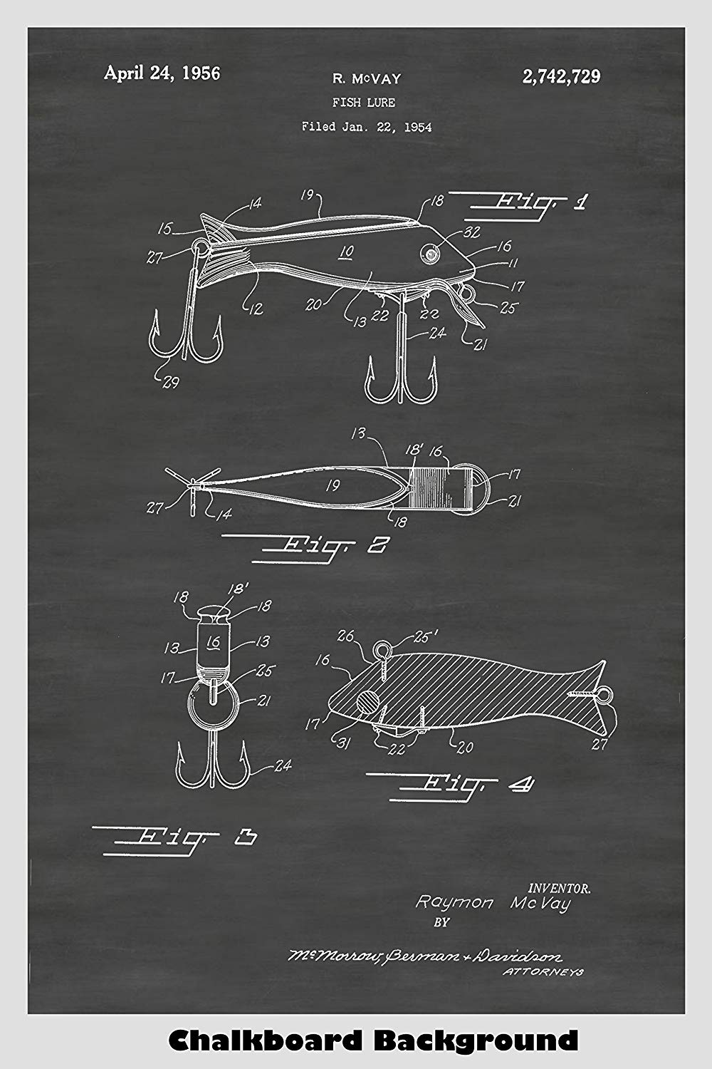 Vintage Fishing Lure - artificial bait - Patent Print Art Poster