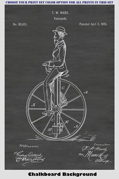 Vintage Bicycle Patent Print Art Posters Wall Decor Collection