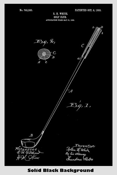 Antique Golf Driver / Club Patent Print Art Poster