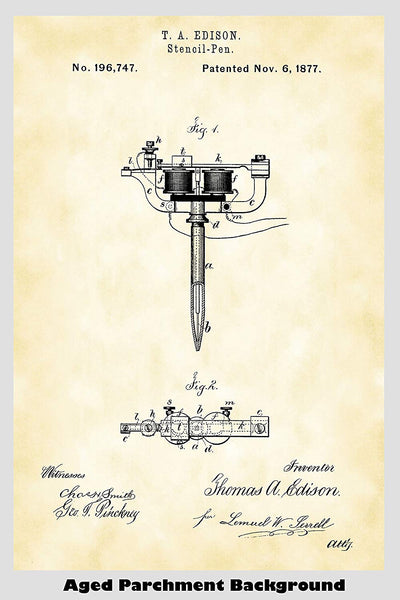Stencil Pen Tattoo Machine Patent Print Art Poster