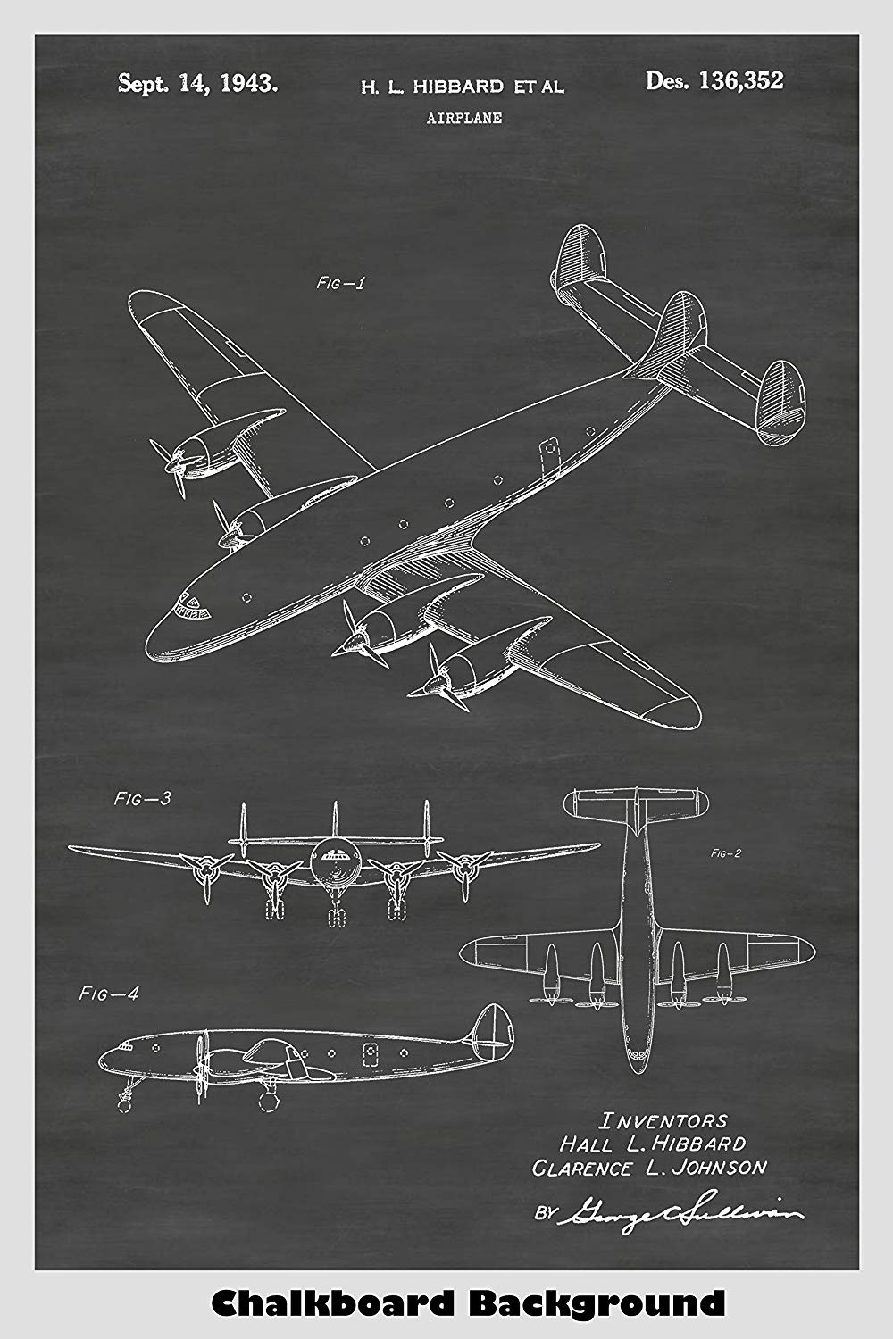 Lockheed Constellation Airplane Patent Print Art Poster