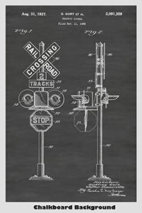 Railroad Crossing Traffic SIgnal Patent Print Art Poster