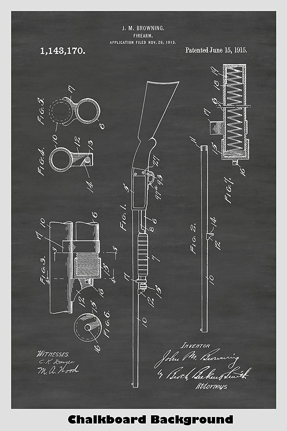 Browning Remington 17 Hunting Shotgun Patent Print Art