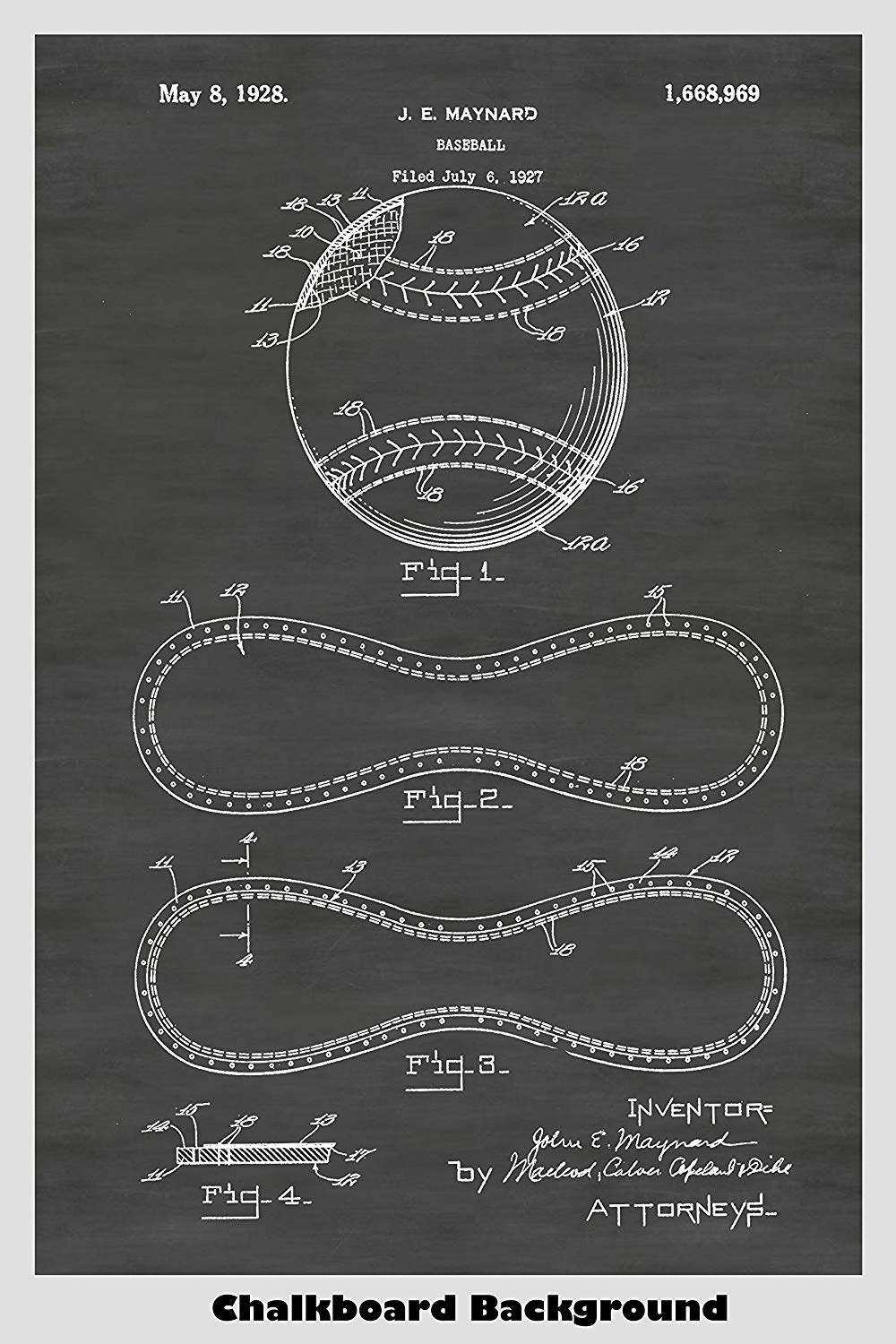 Example patent of a baseball, showing the pieces that are sewn together to make the cover.