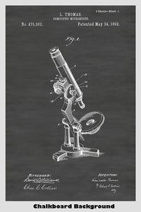 Victorian Era Compound Microscope Poster - Available In Multiple Background Colors