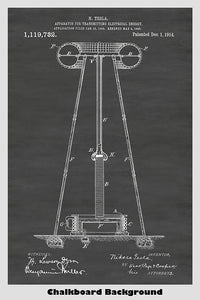 Nikola Tesla Coil Over The Air Energy Transmitter Patent Print Art Poster