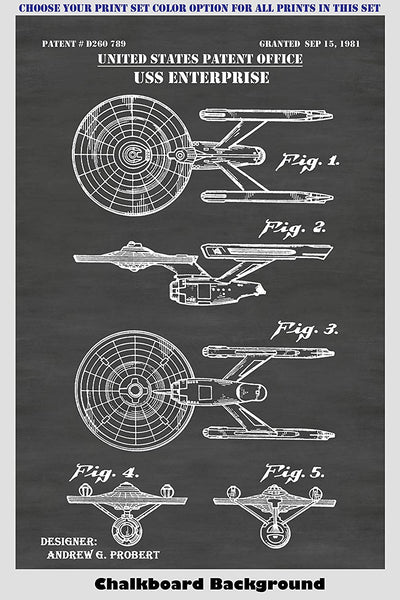 Star Trek Starfleet Starships USS Enterprise A & D, USS Reliant & USS Excelcior Patent Print Art Posters Wall Decor Collection