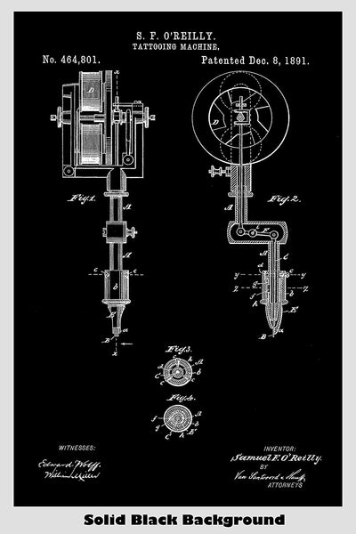 Tattoo Machine Poster Patent Print Art Poster