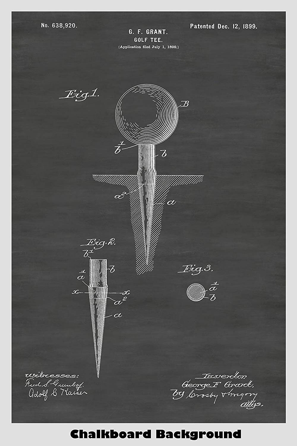 Golf Ball And Tee Patent Print Art Poster
