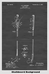 Early 1900's golf club patent poster showcasing an improved shaft design