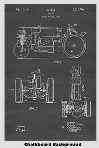 Vintage Henry Ford Farm Tractor Patent Print Art Poster
