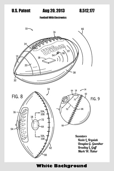 Football Ball With Tracking Electronics Patent Print Art Poster