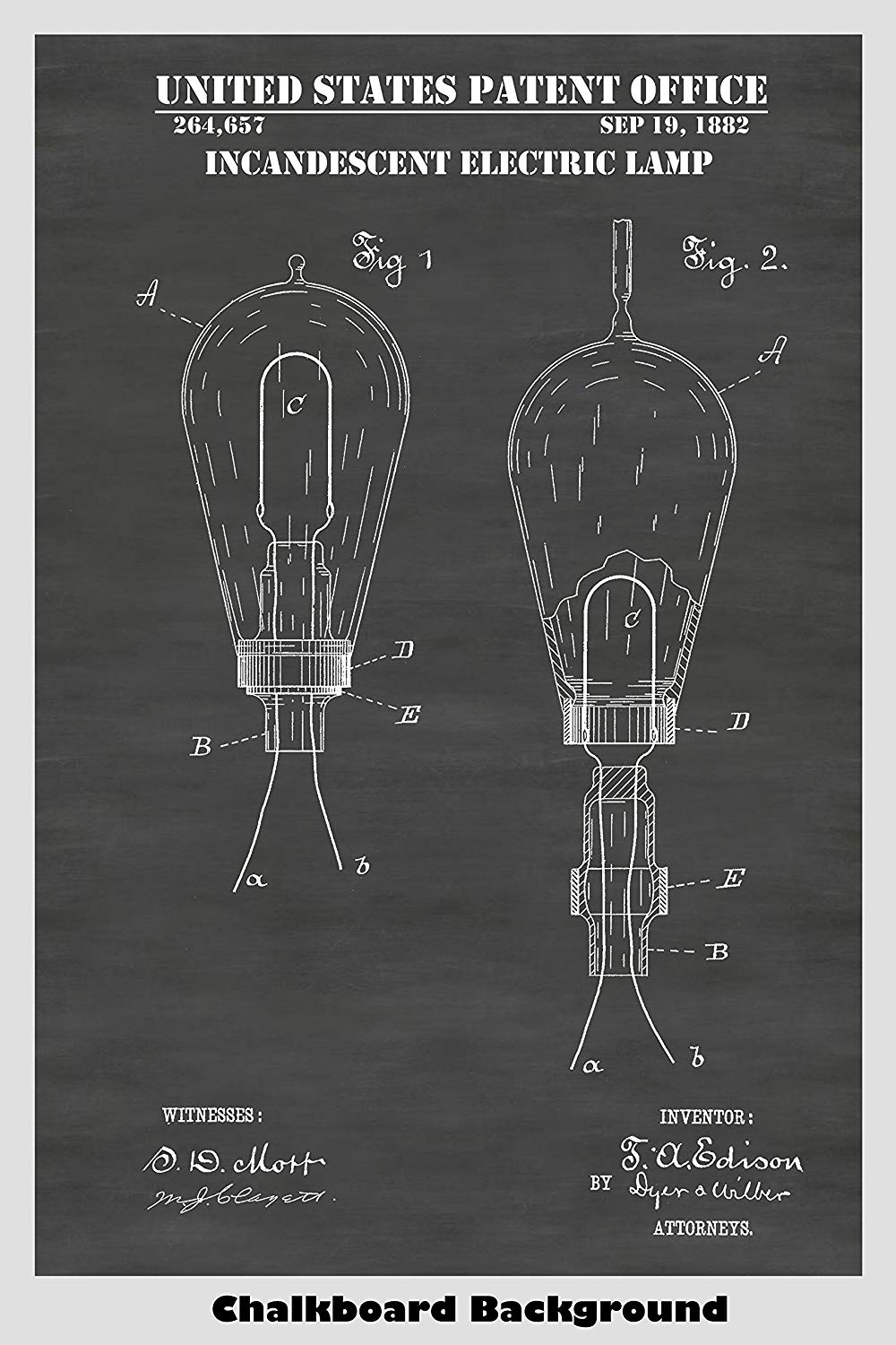 Thomas Edison Incandescent Electric Light Bulb Patent Print Art Poster