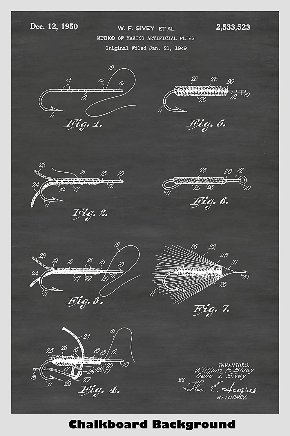 Fly Fishing Lure Patent Print Art Poster