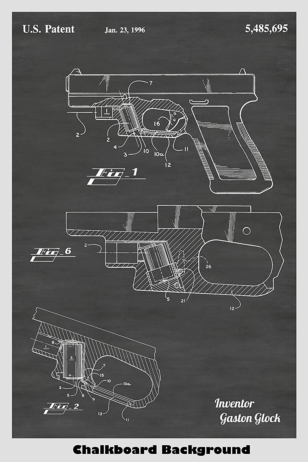 Glock Pistol With Laser SIght Patent Print Art Poster