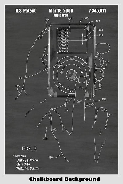 Apple iPod patent shown in a chalkboard background