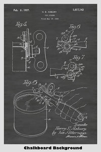 Manual hand operated can opener patent art