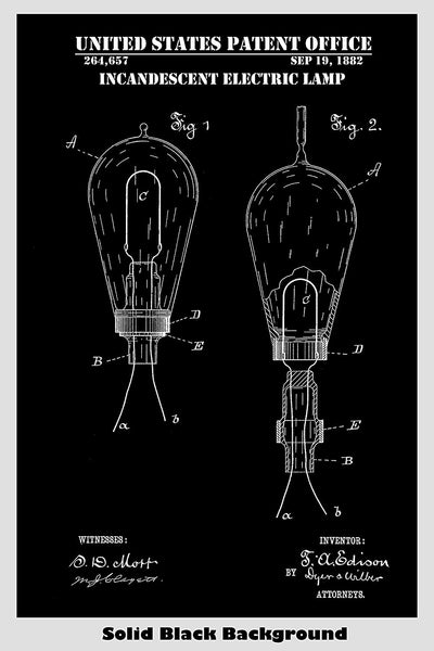 Edison Incandescent Electric Lamp Light Bulb Patent Print Art Poster