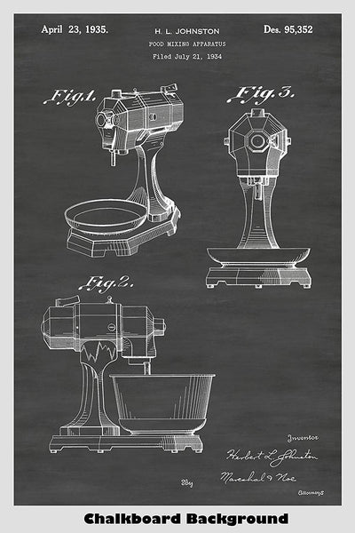 1930's era KitechAid mixer patent art shown in our chalkboard background