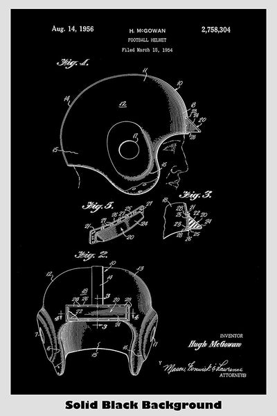 Early Football Helmet Patent Print Art Poster