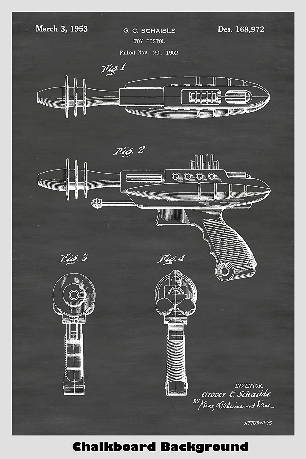Toy Space Ray Gun Patent Print Art Poster