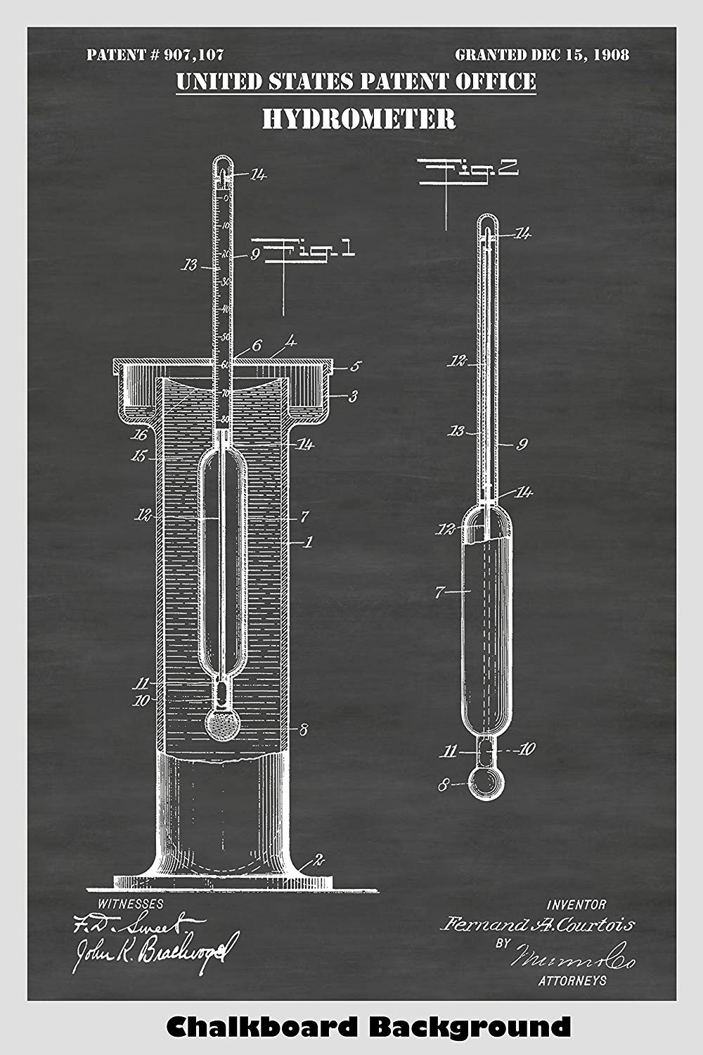 Specific Gravity Hydrometer Patent Print Art Poster