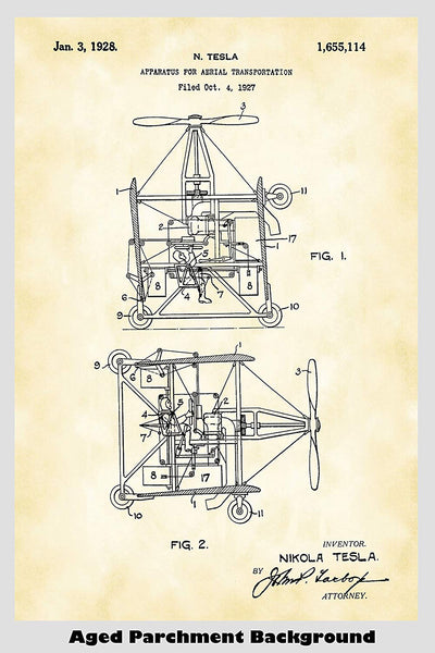 Nikola Tesla Flying Machine Helicopter Poster Patent Print Art Poster
