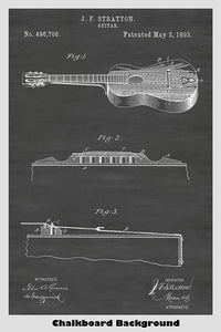 late 1800s Acoustic Guitar Patent Poster - John F. Stratton Inventor