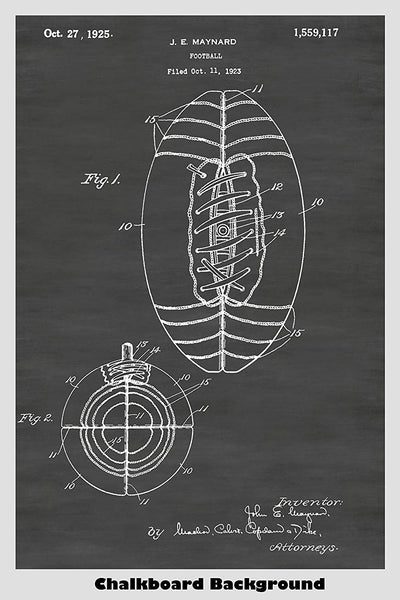 1925 Football Game Ball Patent Shown in our Chalkboard Background