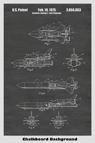 NASA Space Shuttle Patent Print Art Poster
