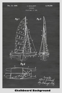 Cataraman Style Sailboat Patent Print Art