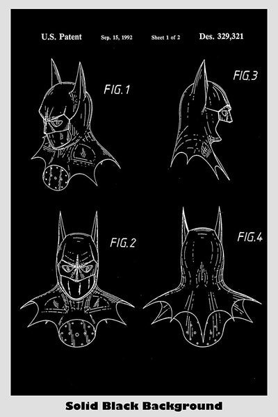 Batman Face Mask Patent Print Art Poster