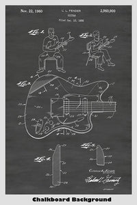 Fender Electric Guitar Patent Print Art Poster