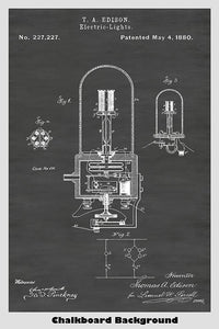 Thomas Edison Electric Light Patent Print Art Poster