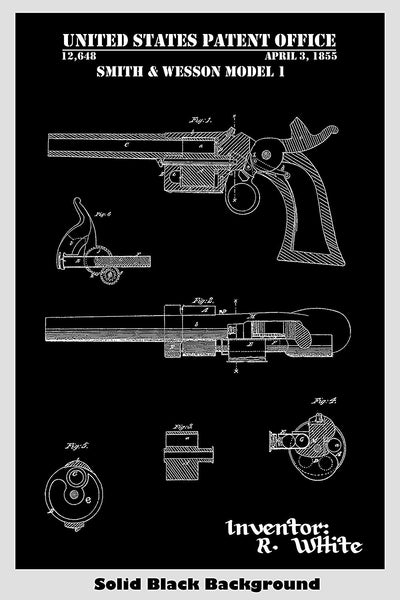 Smith & Wesson Model 1 Revolver Patent Print Art Poster