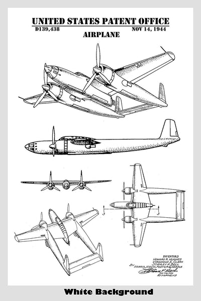 Howard Hughes XF-11 Airplane Patent Print Art Poster