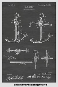 Ship's Anchor Patent Print Art Poster