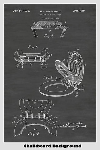 Toilet Seat And Cover Patent Print Art Poster